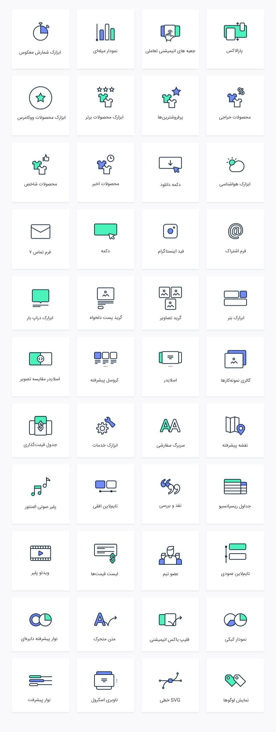 انواع ابزارک هایی که میتوانید با کمک JetElements بسازید